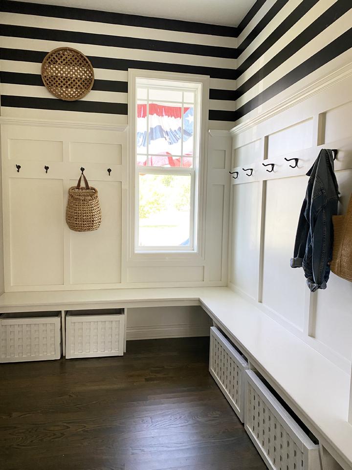 Mudroom Shoe Storage - white and black - lattice storage